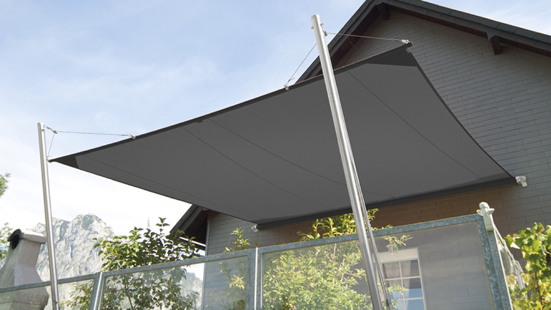CS motorised Shade Sail on a house