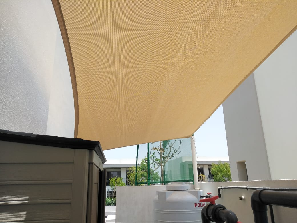 Shade Sail installed in Dubai hills with post
